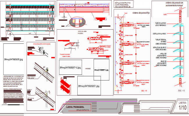 Construction details of transverse cutting parasol anchor dwg file