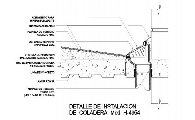 Construction details on roof parapet strainer cad drawing