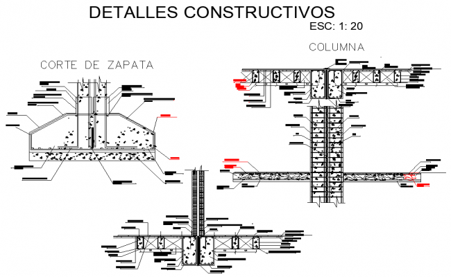 Construction foundation and column section autocad file