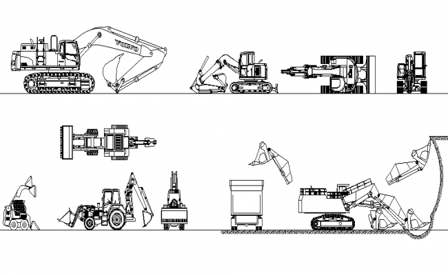 Construction Machine Design In DWG File