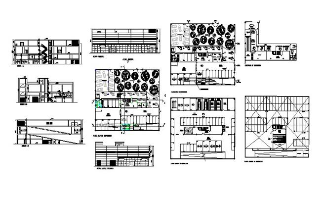 Construction plan of an office building with different section and elevation in AutoCAD