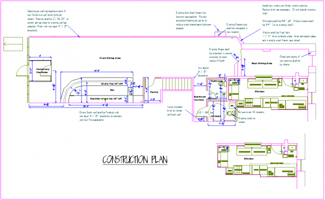 Construction plan of office dwg file
