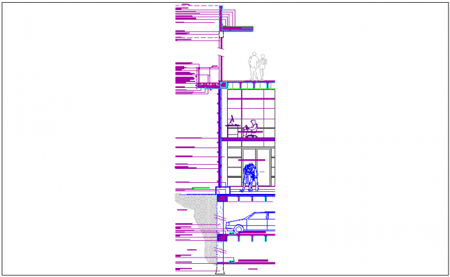 Construction section view of building dwg file