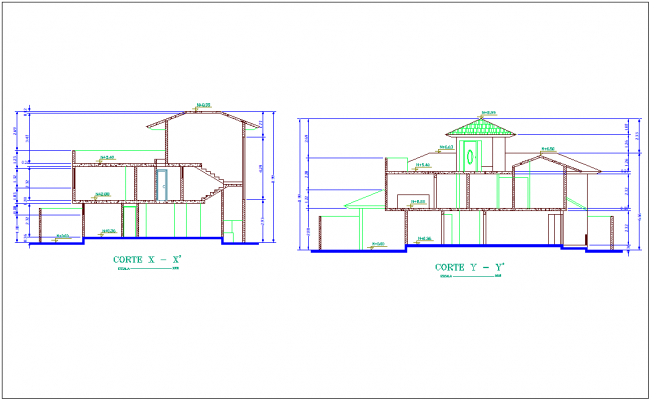 Construction view in section of duplex house dwg file