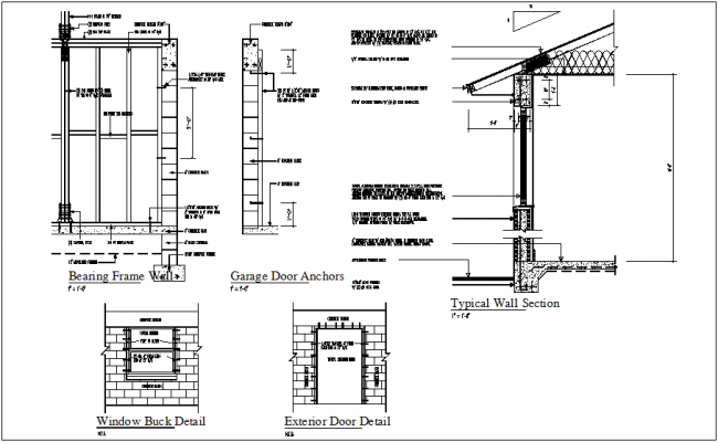 Construction view of bearing frame and garage door anchor for Garage door framing detail