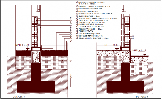 Construction view of brick and concrete dwg file