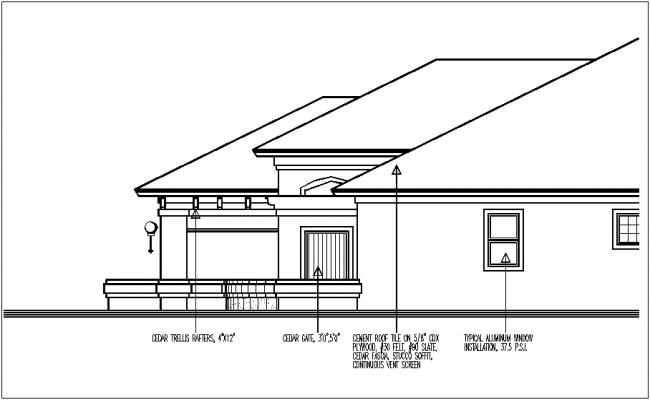Construction view of cement roof elevation of house dwg file
