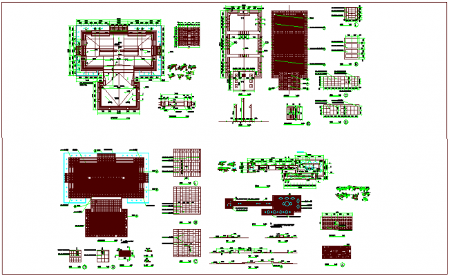 Construction view of circus square dwg file