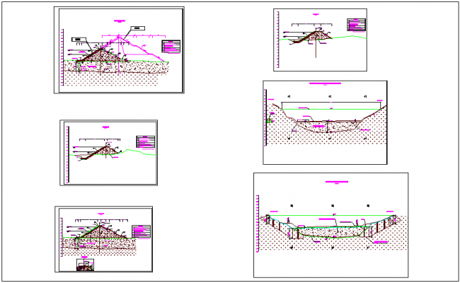 Construction view of dam dwg file