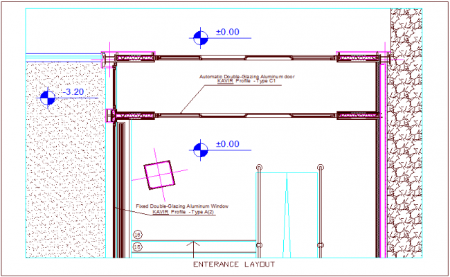 Construction view of entrance of multipurpose room dwg file