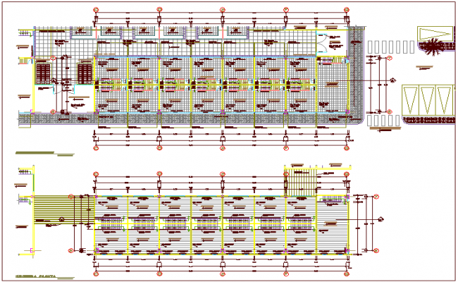 Construction view of first and second floor plan of zonal market area dwg file