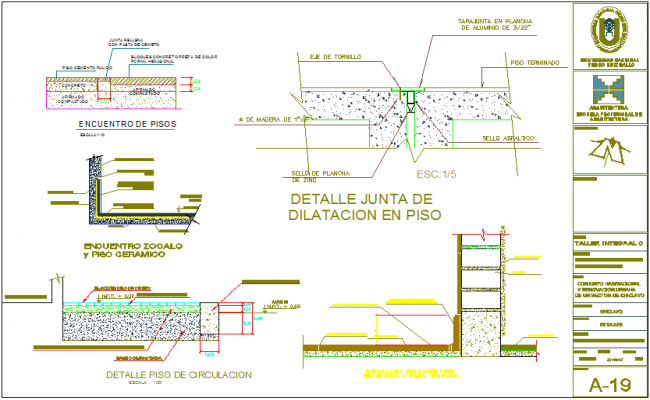 Construction view of floor,board,ceramic floor view with detail for school dwg file