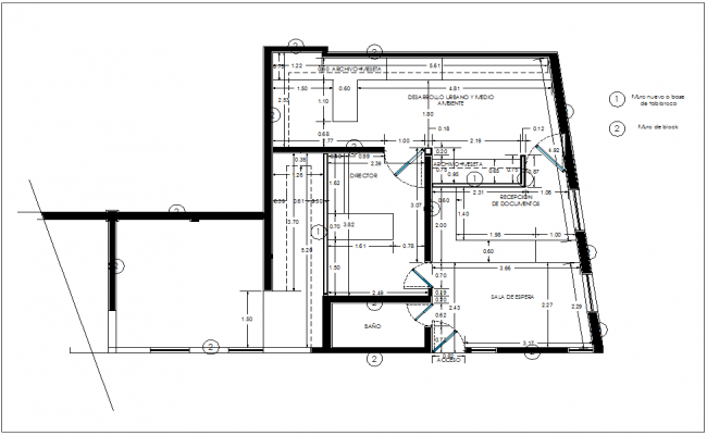 Construction view of floor plan of office dwg file