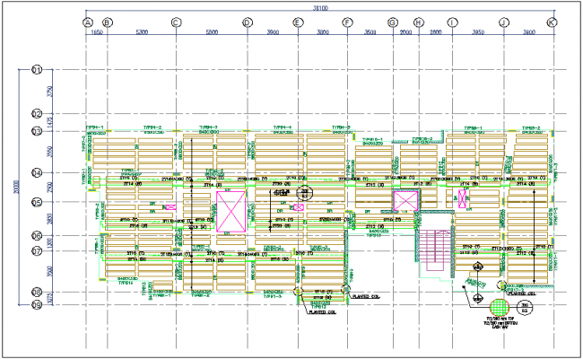 Construction view of floor plan with slab view dwg file