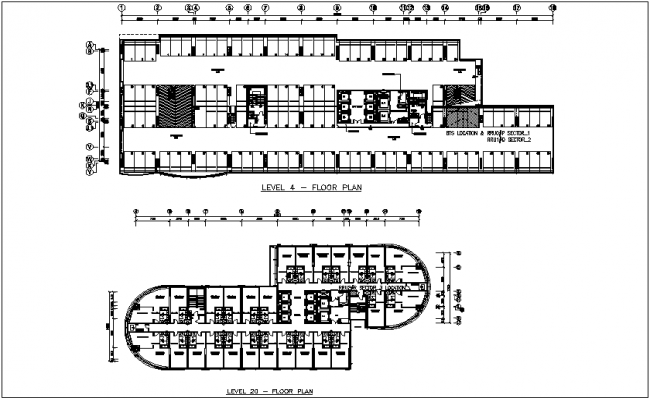 Construction view of hotel floor plan dwg file