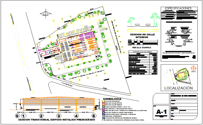 Construction view of industrial  building with plan,detail and elevation view dwg file