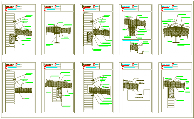 Construction view of panel design with foundation detail dwg file