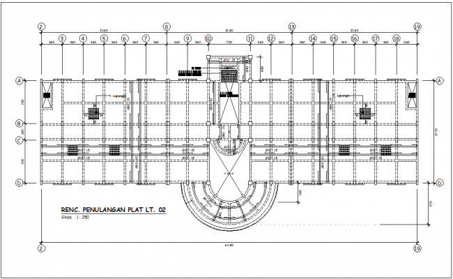 Construction view of plan of head quarter dwg file