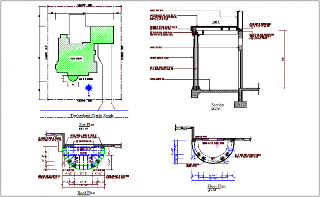 Construction view of roof and floor plan with section view dwg file