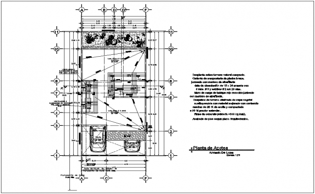 Construction view of roof top plan for housing dwg file