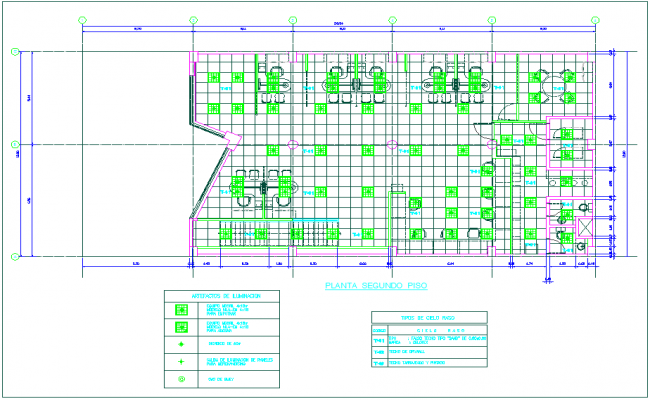 Construction view of second floor plan of banking agency dwg file