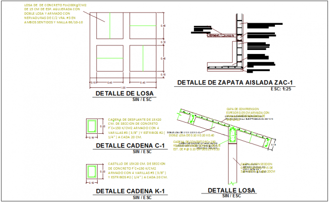 Construction view of slab and chain with detail dwg file