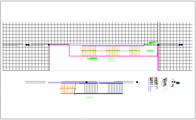 Construction view of stair case dwg file