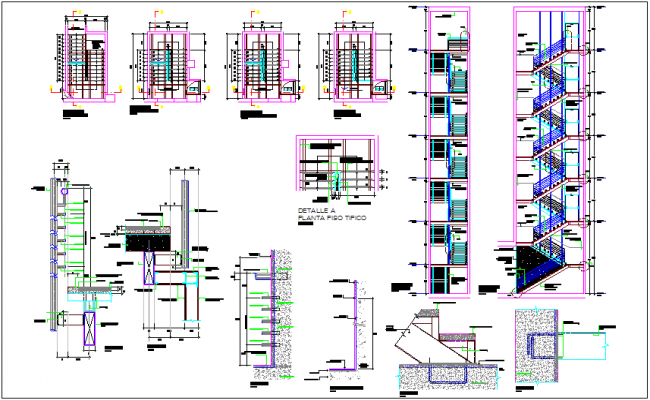 Construction view of stair plan,section and detail view dwg file