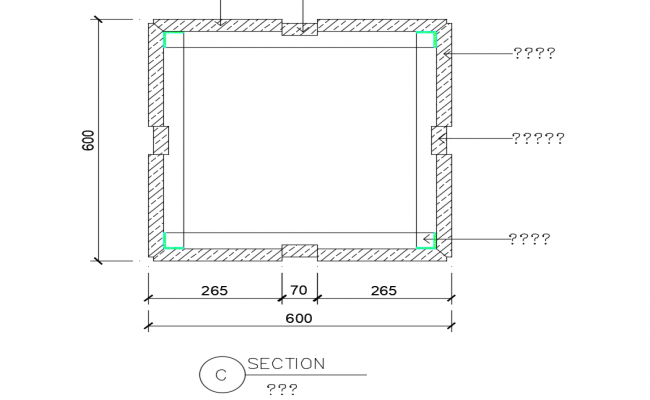 Construction view of stone section dwg file