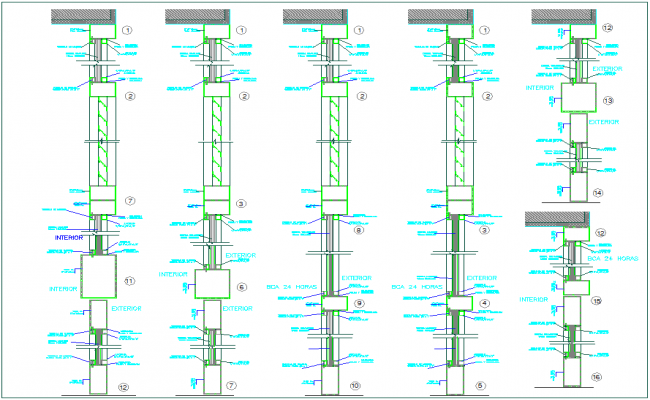 Construction view of tube foundation view for banking agency dwg file