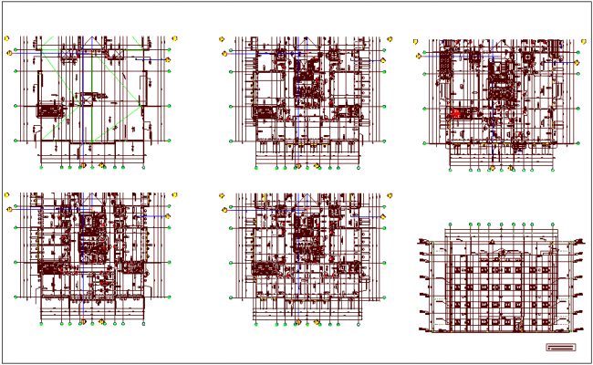 Construction view of wall with floor plan and elevation dwg file