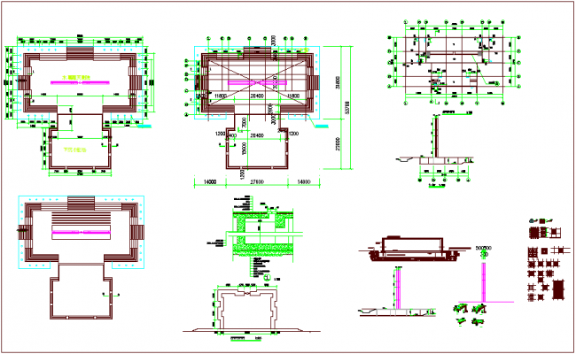 Construction view of water certain with plan and section view dwg file