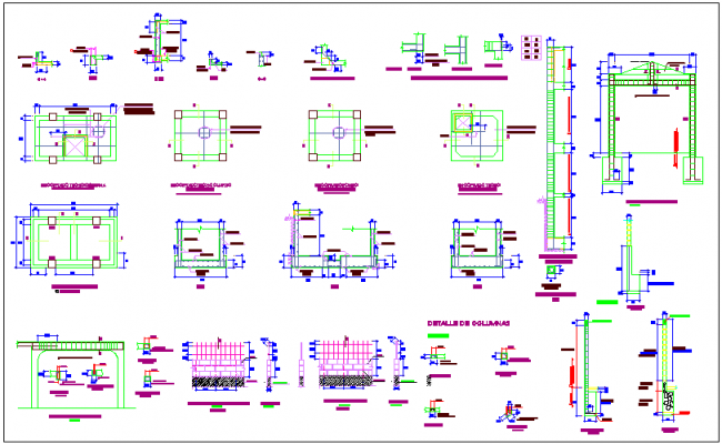Construction view with elevation of tank dwg file