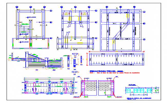 Construction view with foundation plan,stair and wall view of school dwg file