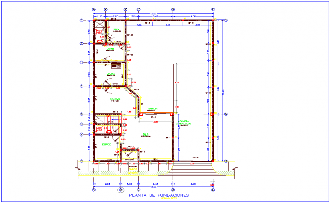 Construction view with foundation plan of house for two level dwg file