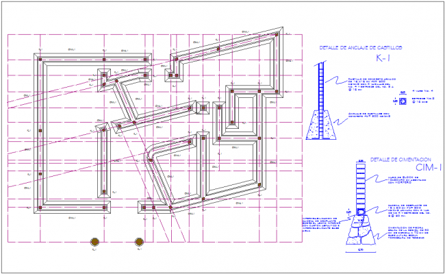 Construction view with foundation view of column for office dwg file