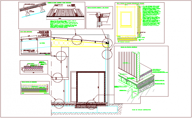Construction view with refrigeration chamber with detail dwg file