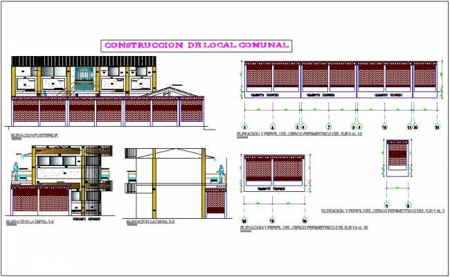 Construction view with wall detail of community center dwg file