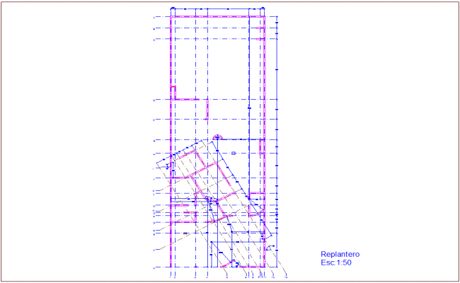 Construction view with wall plan for residence area dwg file