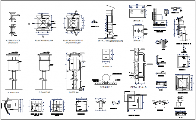 Construction with elevation and section with detail of watch tower dwg file