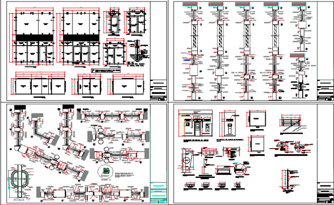 Constructive and sectional details of bank agency building dwg file