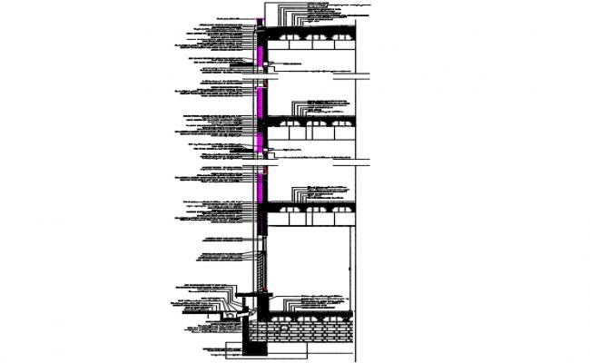 Constructive detail educational building section detail dwg file