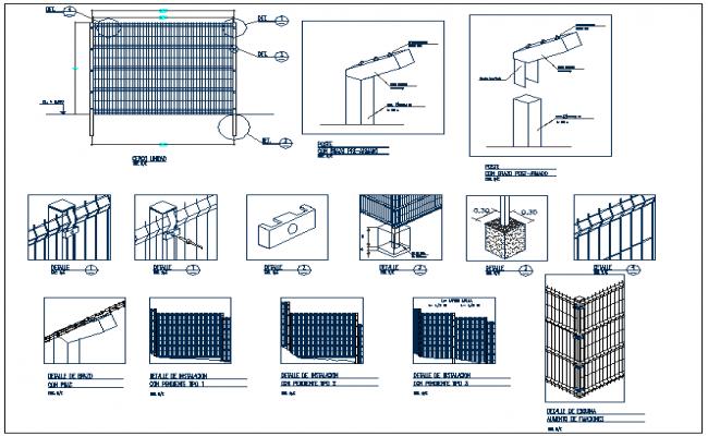 Constructive detail mesh perimeter closing fence dwg file