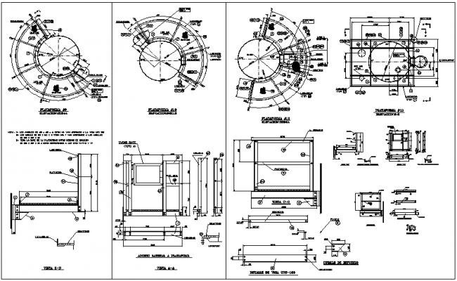 Constructive details of circular plat form dwg file