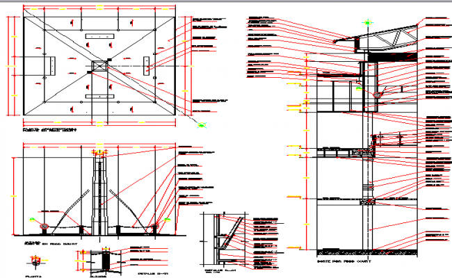 Constructive details of city shopping center dwg file