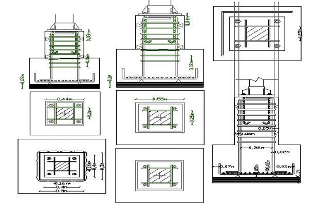 Constructive details of exhibition hall dwg file
