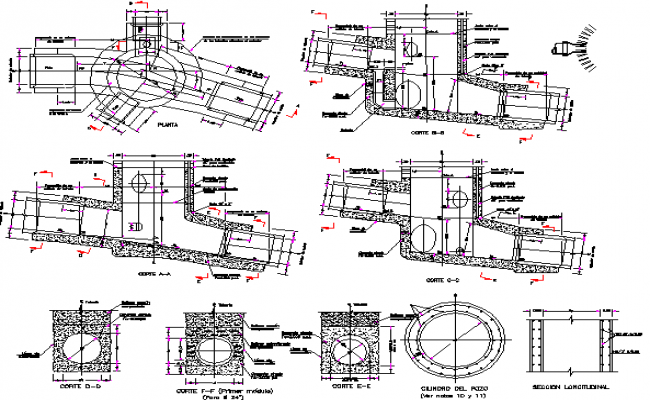 Constructive details of man hole architecture details dwg file