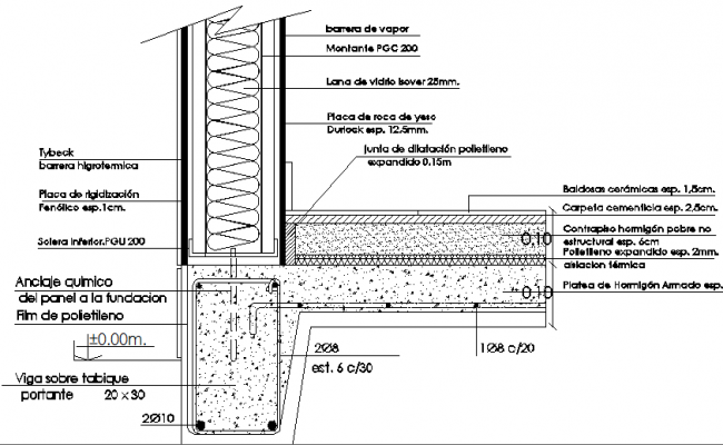 Constructive details of plate foundation dwg file