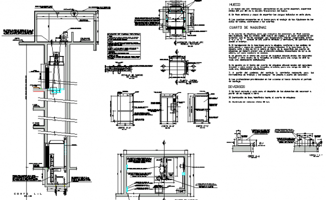 Constructive details of residential and commercial building dwg file