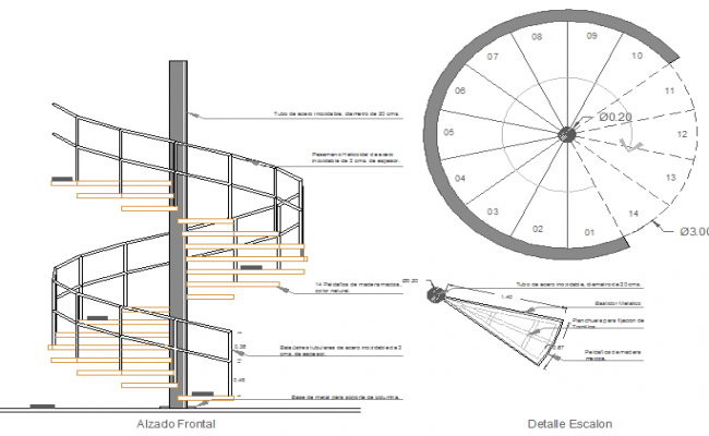 Constructive Details Of Spiral Staircase Of Bungalow Dwg File